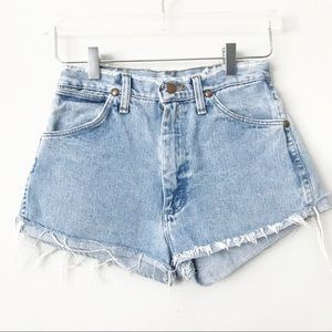 UO Wrangler Distressed High Rise Jean Shorts